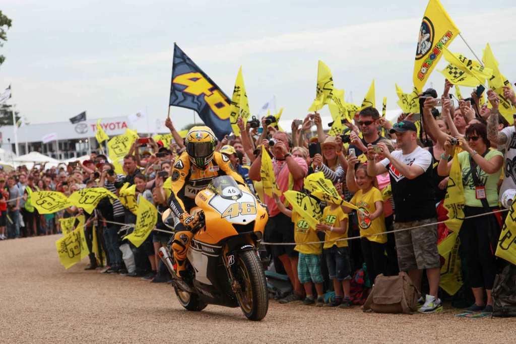 Super bike with a crowd