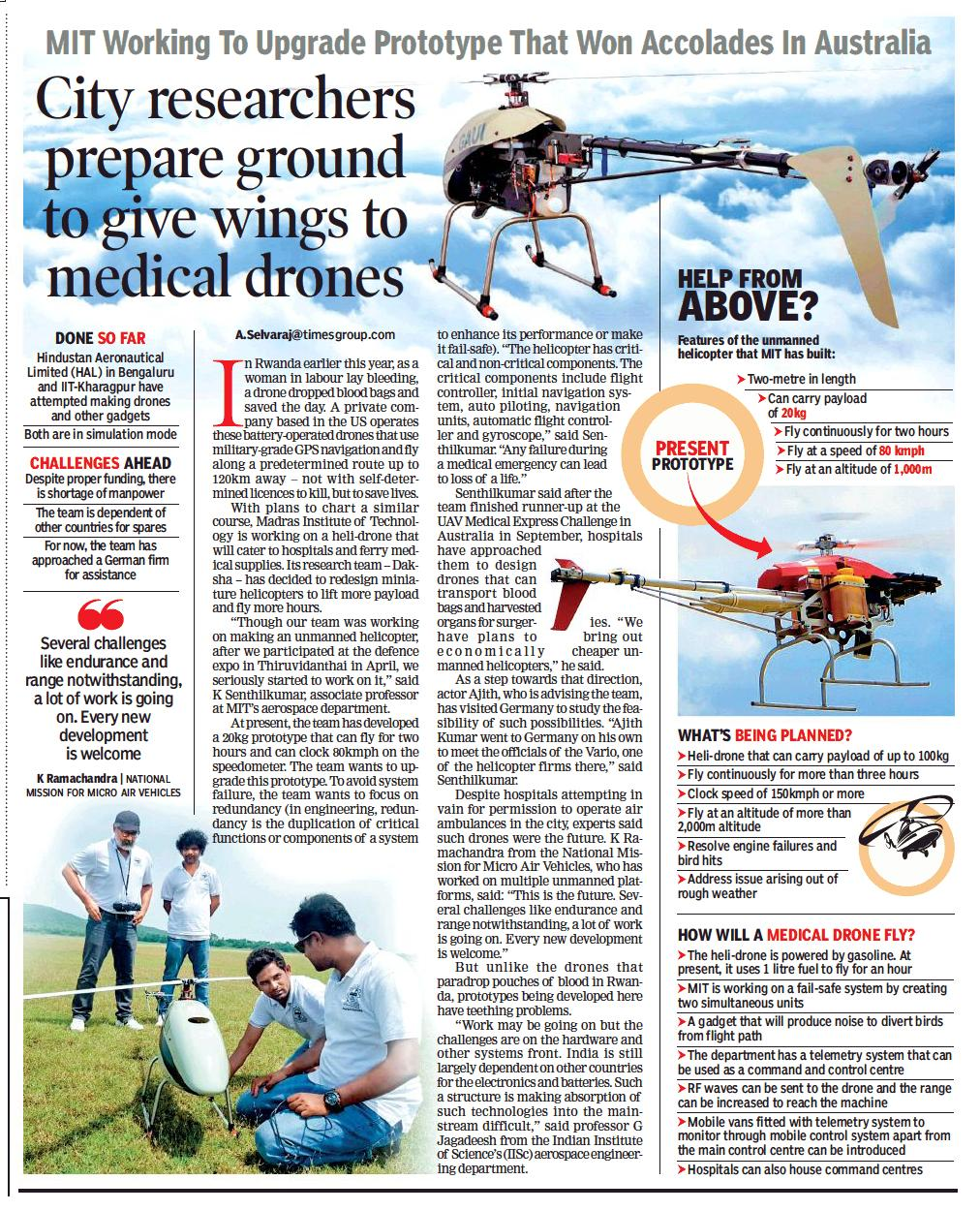 Team Dhaksha's Medical UAV news at today's Times of India Newspaper