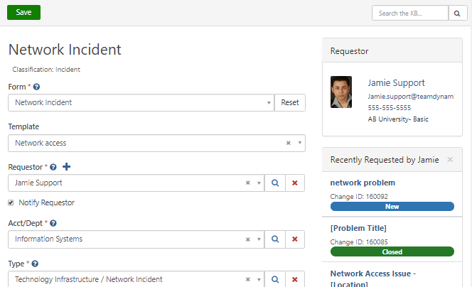itsm incident management screen