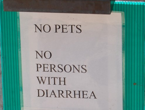 No Pets. No Persons with Diarrhea sign funny names, bad fart, funny store signs, fun advertisements, ads, worst ever, bad, street signs, real estate, misspelled, wrong, fail, stupid, wtf, bad product names, funny names, funny people, wrong place wrong time,