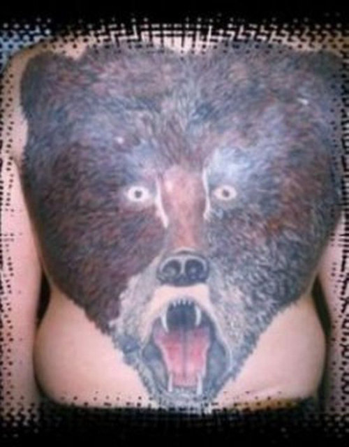Bear on Back, bear tattoo Bad Tattos, Worst Tattoos Funny Tattoos Studpid tattoos, body art tramp stamps horrible tattoos best tattoos awesome tattoos body piercings crazy tattos on arm face tats tatto removal worst ever