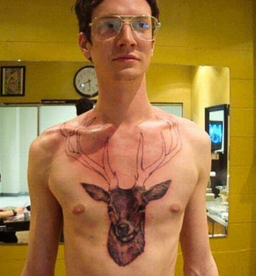 Deer Head on Chest, buck Worst Tattoos funny bad tattoos stupid tattoos ugliest tattoos horrible terrible awful funny pictures