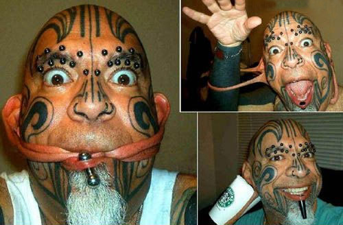 bad face tattoos extreme body piercings crazy people worst tattoos ever , horrible tattoos, ugliest tattoos, ugly stupid people funny pictures, funny russian pictures fotos worst tattoo pics pictures wtf tattoos fail awkward family photos