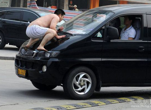 Man in underwear on Car Balls door knocker funny pictures weird pictures pics awkward family photos bad tattoos worst tattoos stupid people bad family photos funny family pics random strange