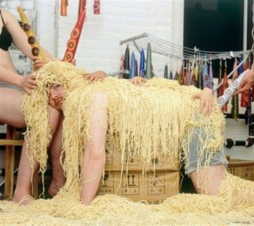 man covered in noodles macaroni spaghetti worst family photos funny pictures weird pictures pics awkward family photos bad tattoos worst tattoos stupid people bad family photos funny family pics random strange