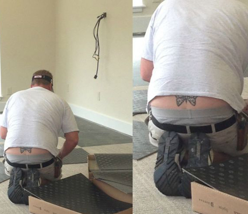 butterfly tramp stamp on man bad tattoos terrible awful ugliest tattoos wtf tattoos, horrible awkward family worst tattoos photos crazy people weird people stupid humor redneck humor photobombs