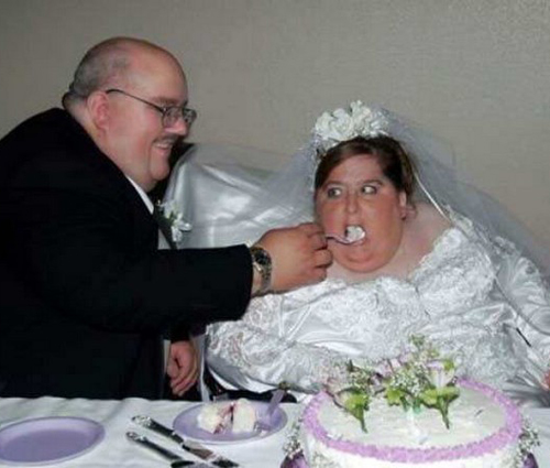 feeding the bride cake groom zipping pants Funny Wedding Pictures Bad Wedding photos worst wedding pic ugly wedding dresses drunk bride groomsmen awkward family photos bad family bridesmaid dresses wedding receptions wedding djs russian wedding worst tattoos bad tattoos fat wife fat bride fat groom