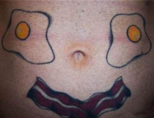 Bacon and Eggs Tattoo bad tattoos terrible awful ugliest tattoos wtf tattoos, horrible awkward family worst tattoos photos crazy people weird people stupid humor redneck humor photobombs