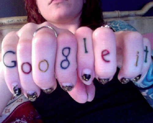 goggle it on knuckles tattoo regrettable bad tattoos terrible awful ugliest tattoos wtf tattoos, horrible tattoos funny tattoos awkward family america's worst tattoos photos crazy people weird people stupid humor redneck humor photobombs