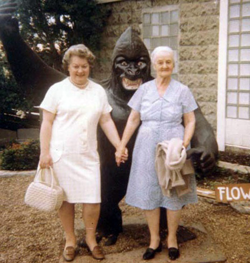 Grandma's Holding Hands Gorilla Costume Bad Family Portraits, Bad Family Photos, Ellen, funny family photos, worst family pics, funny pictures, awkward family photos, wtf, ugly people, stupid people, crazy people, people of walmart