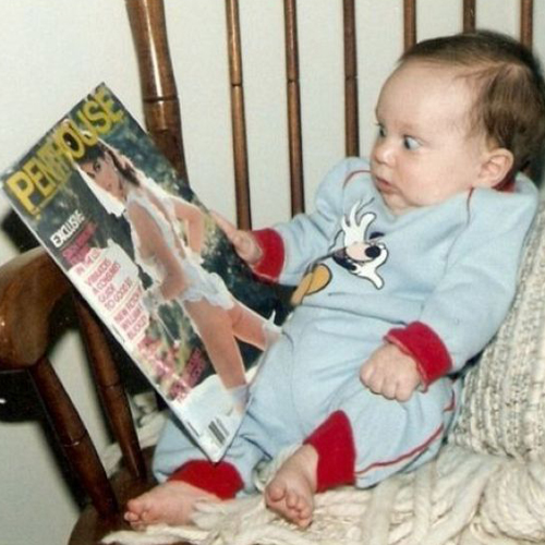Zoinks! Baby reading penthouse magazine Bad Family Portraits, Bad Family Photos, Ellen, funny family photos, worst family pics, funny pictures, awkward family photos, wtf, ugly people, stupid people, crazy people, people of walmart