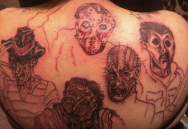 Movie Monster on Back Kruger Jason Lector Pin Head Worst Tattoos Bad Tattoos Stupid People Funny Nasty Awful Horrible Terrible WTF Epic Fails