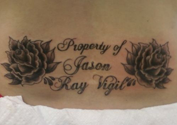 Property of Jason Ray Vigil Roses Bad Tattoos Worst Tattoos Horrible Awful Funny Tattoos WTF Regrettable Regrets Stupid People What were you thinking Awkward