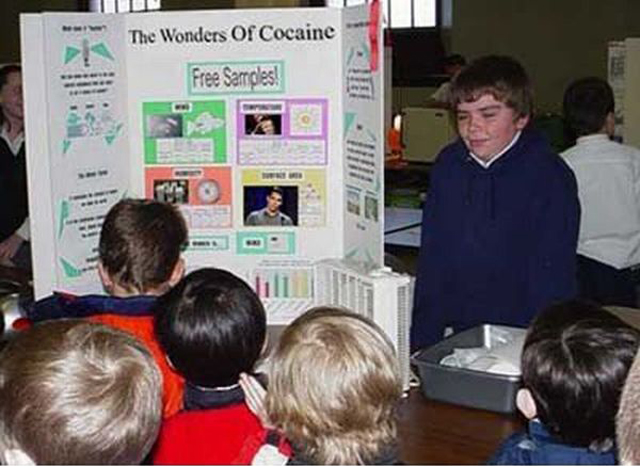 The Wonders of Cocaine ~ 36 Funny School Science Fair Projects!