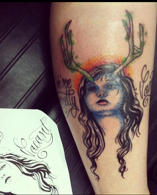 We're Pretty Vacant Woman With Antlers Bad Tattoos America's Worst Tattoos Regrettable Horrible Awkward Stupid People Regrets Misspelled Nasty Tats WTF Funny
