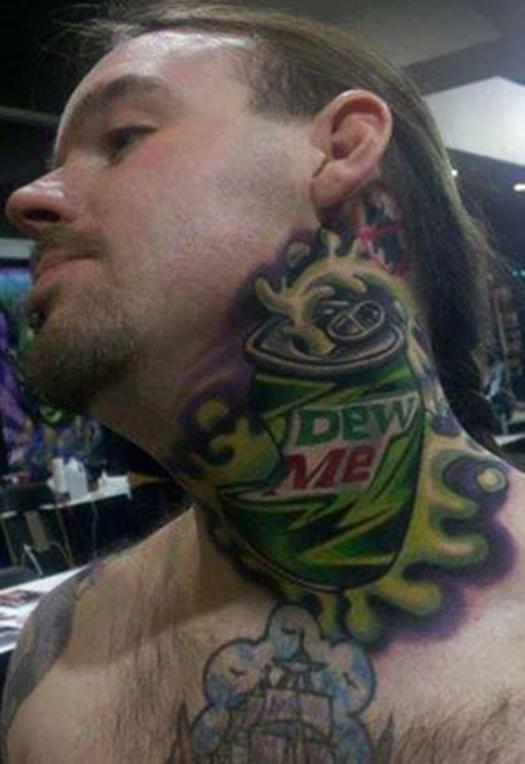 Dew Me on neck mountain dew Bad Tattoos America's Worst Tattoos Regrettable Horrible Awkward Stupid People Regrets Misspelled Nasty Tats WTF Funny