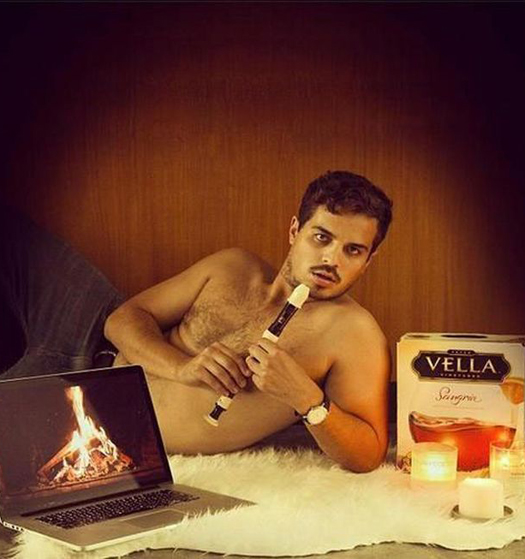 Man posing with Box Wine Recorder Fire on Laptop ~ 34 Failed Attempts at Trying to Be Sexy Profile Pics