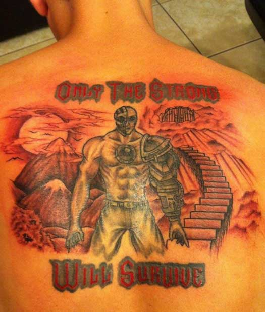 Only the Strong Survive – Bad Tattoos Worst Tattoos Regrettable Ugliest Tats WTF Funny