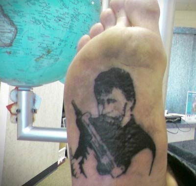 Chuck Norris Foot – The Worst Bad Tattoos, The Ugliest Regrets, too.