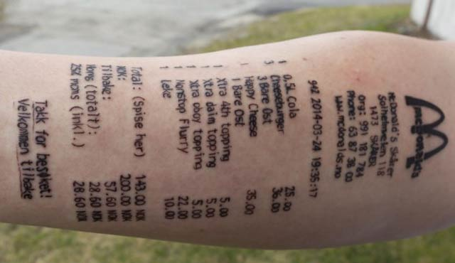 McDonald's receipt – The Worst Bad Tattoos, The Ugliest Regrets, too.