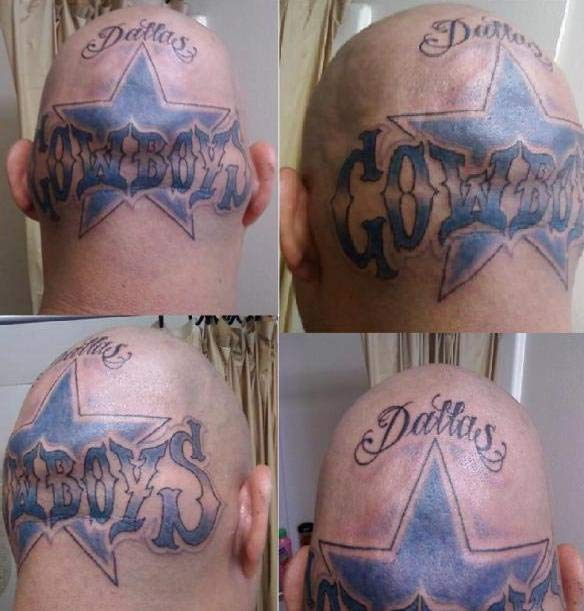 Dallas Cowboys Head ~ 24 of the Worst NFL Fan Tattoos