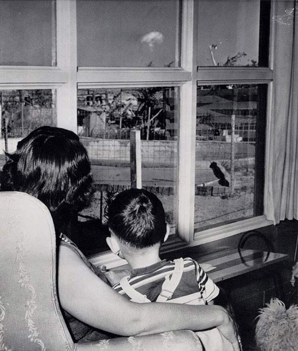Mom & Son watching nuclear bomb test ~ 28 Rare Historical Photos You Must See