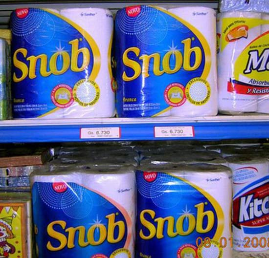 Snob Paper Towels ~ Inappropriate, Funny & Strange Product Names