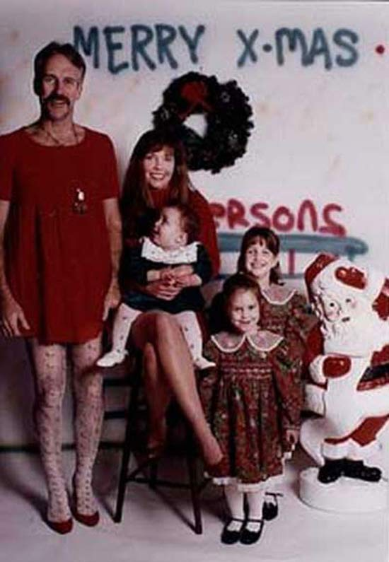Dad in Dress ~ 27 Funny & Creepy Family Christmas Photos