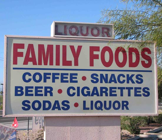Family Foods Beer Cigarettes Liquor ~ 25 Funny Signs