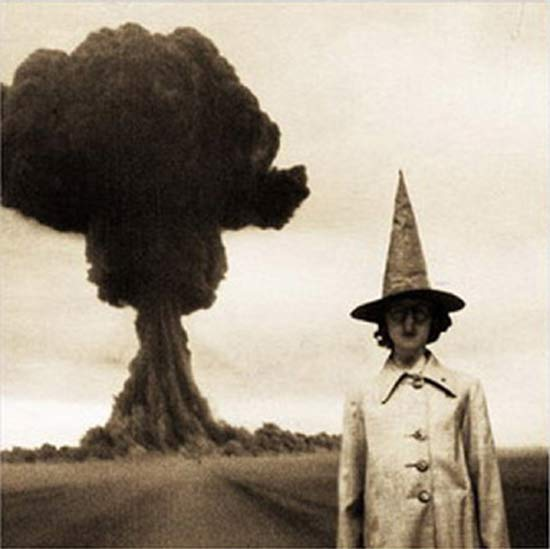 Girl in Witches Hat Mushroom Cloud ~ 25 Creepy Photos