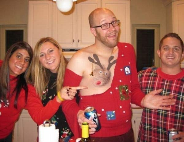 Ugly Christmas Sweater Rudolph Boob ~ 27 Funny & Creepy Family Christmas Pics