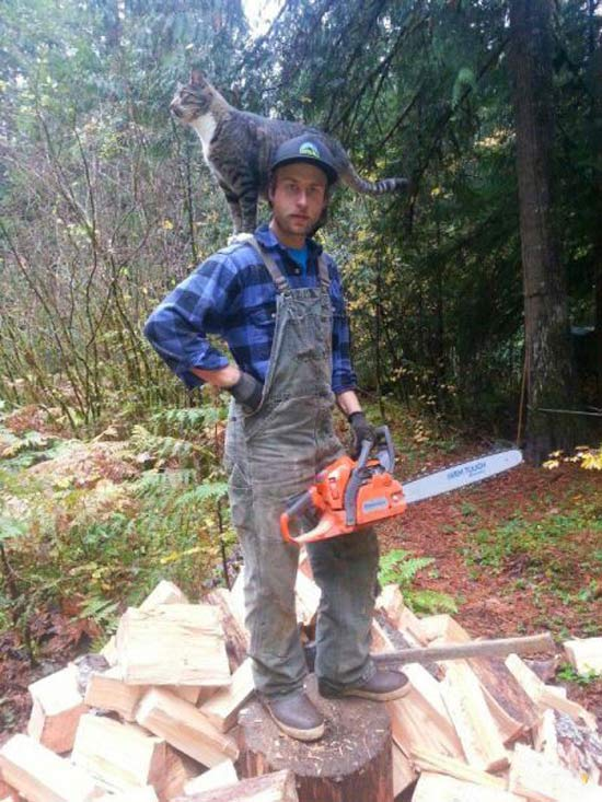 Awesome Man standing on log with chainsaw & cat on his shoulder