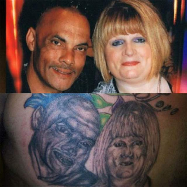 Nailed it! Couple's Portrait ~ 15 of the Worst Bad Tattoos