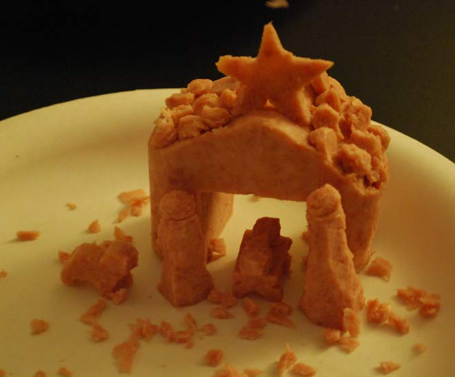 Manger Nativity Scene carved out of Spam