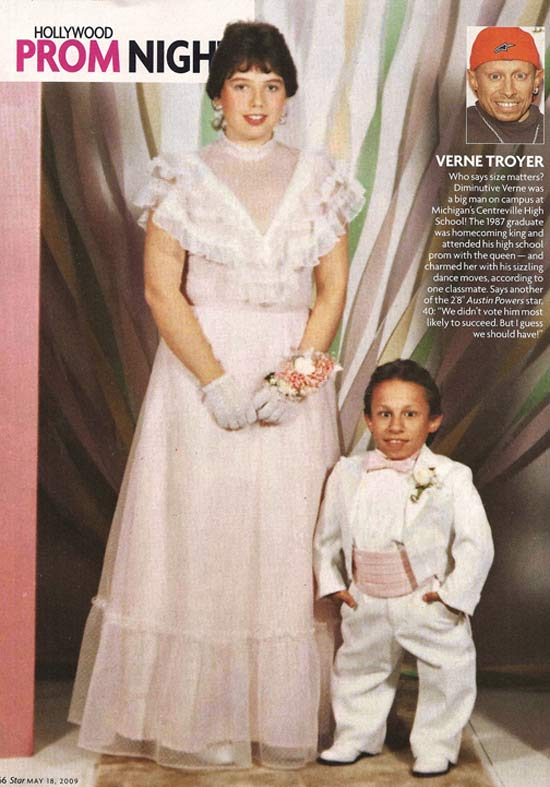"""40 celebrity prom pictures ~ Vern """"Mini Me"""" Troyer"""