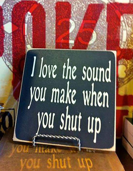 Inspirational Posters~ I Love It When You Shut Up