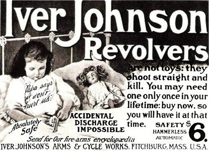 Vintage Iver Johnson Revolvers ad featuring a young girl in bed with a gun. Completely safe.
