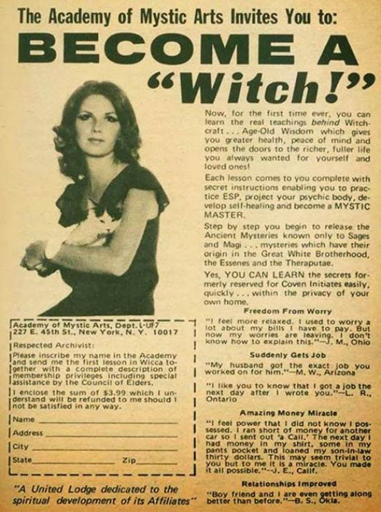 Vintage Mail Order Advertisement: How To Become a Witch