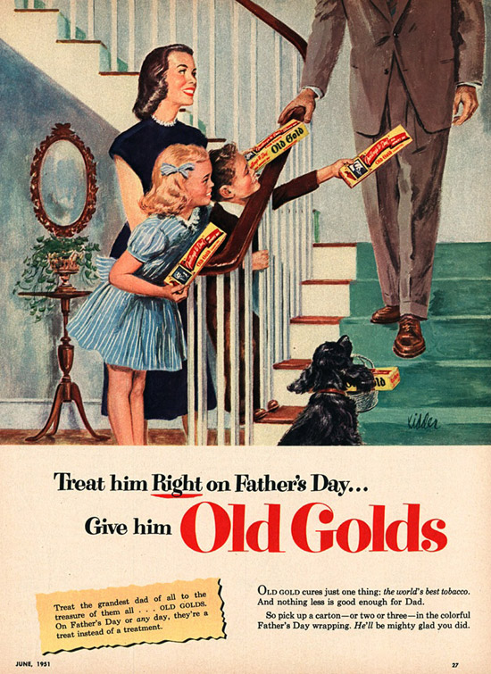 Vintage Old Gold Cigarettes Ad. Happy Father's Day Dad! Creepy.