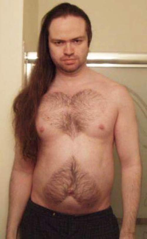 Creepy man with hearts shaved into chest hair