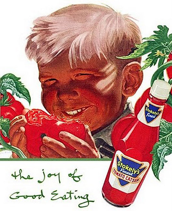 Vintage Stokey's Ketchup ad with creepy red faced boy