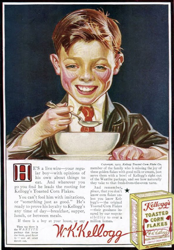 Creepy Vintage Kellogg's Toasted Corn Flakes ad with boy that looks like he has third degree burns.