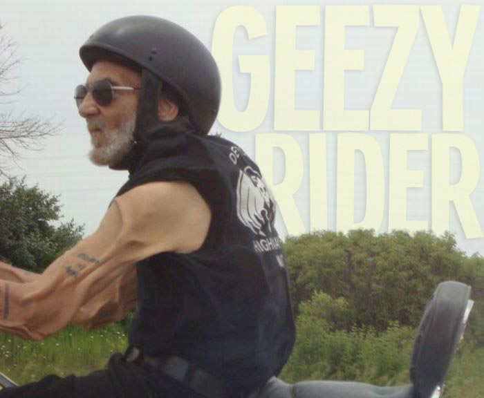 Geexy Rider - Old man on a motorcycle with arm skin flapping in the wind