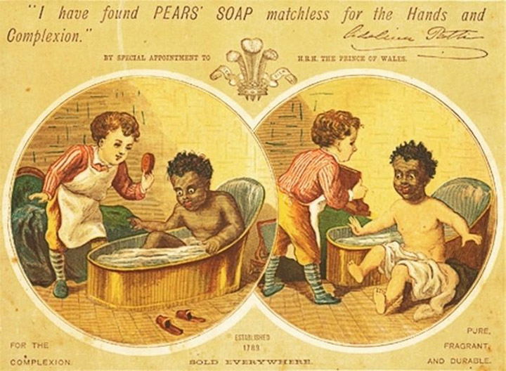 Creepy Vintage Racists Pears' Soap Ad _ Trung a black boy white