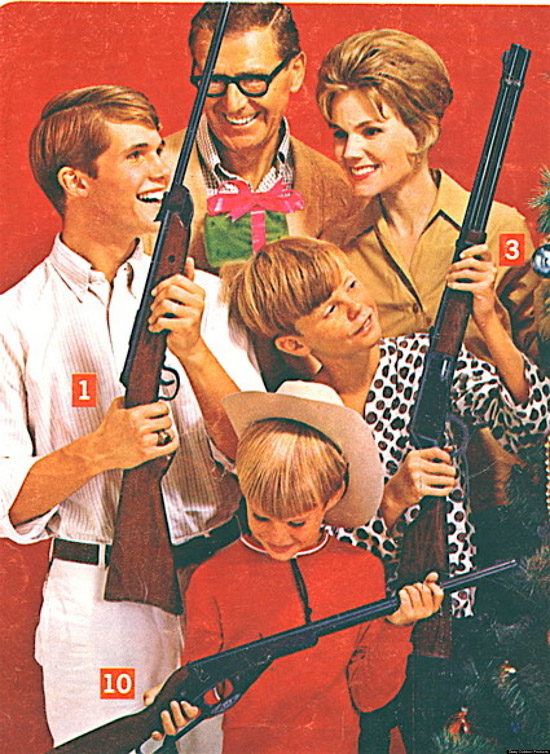 Creepy Vintage Sears Catalogue from the 1950s. A family at Christmas all with guns
