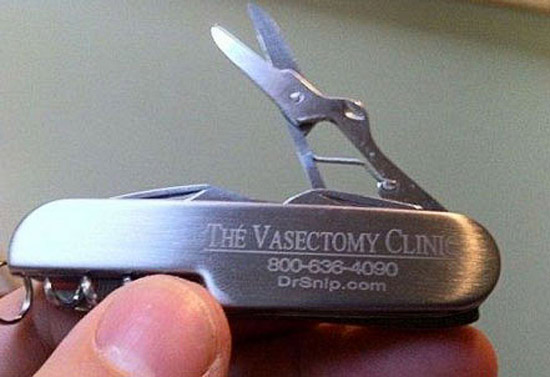 Swiss Army Knife advertising Vasectomy Clinic, Snip! diy