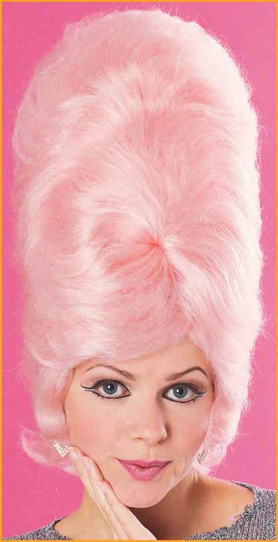 Vintage snapshot, ad woman with giant pink hair b-hive