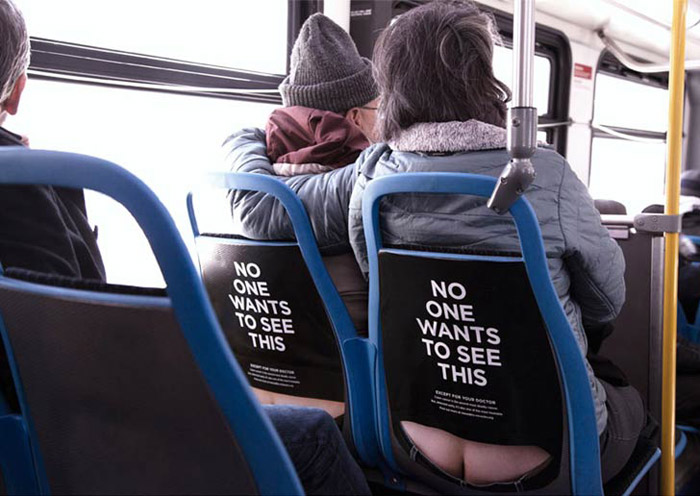 Butt Cracks on bus. No one wants to see this ad.