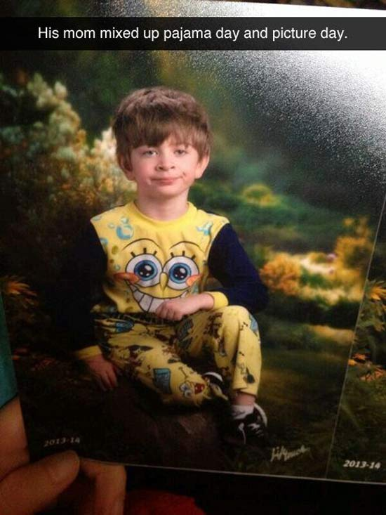 Snapchat shot of boy in school picture wearing Spongebob pajamas. Mom had her days infused