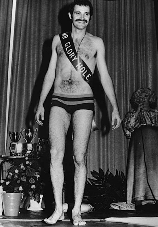 Awkward vintage snapshot of Man in Mr. Glory Hole pageant